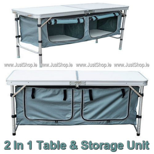 2 In 1 Camping Table with 2 Storage Compartments