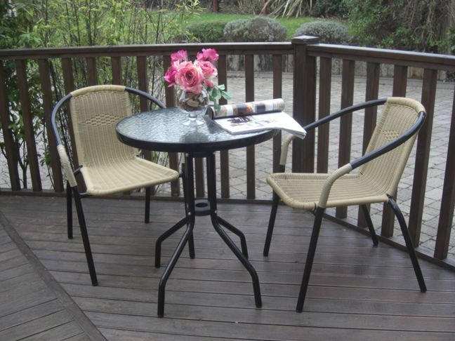 3 Piece Rattan Steel Bistro Set. (Stacking Chairs)