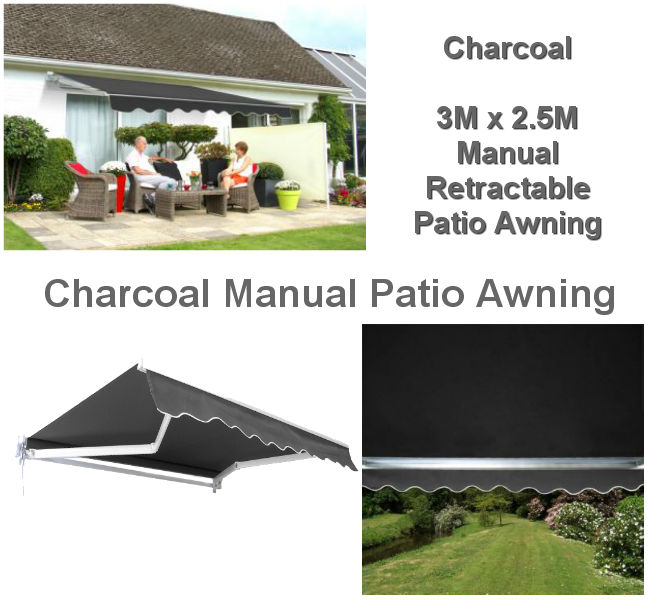 3M x 2.5M Charcoal Retractable Patio Awning
