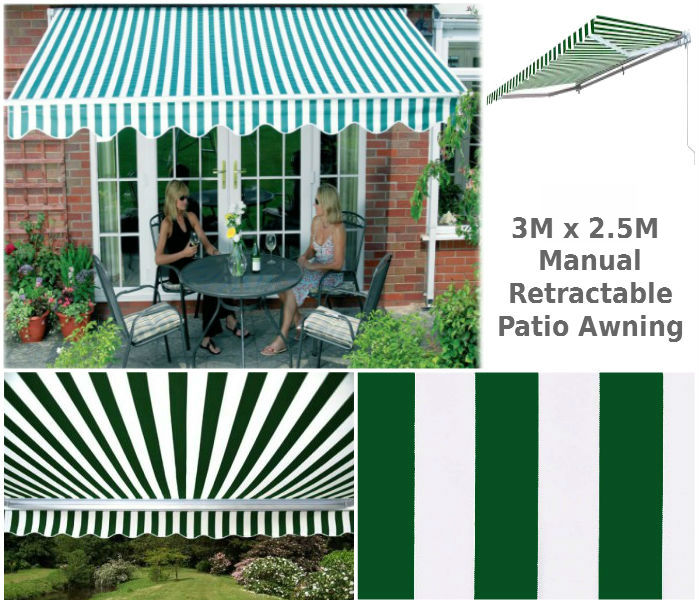 3M x 2.5M Patio Awning Green & White Stripe