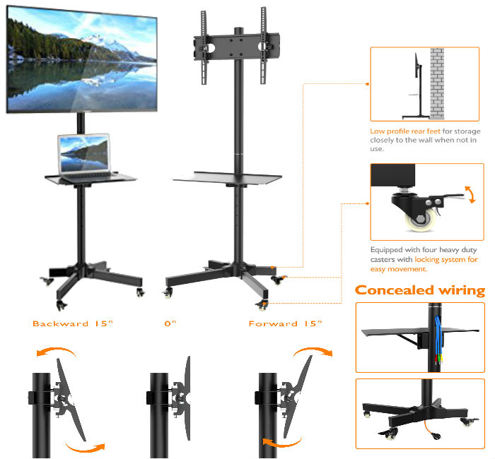"Mobile TV Floor & Display Stand - 23""-55"""