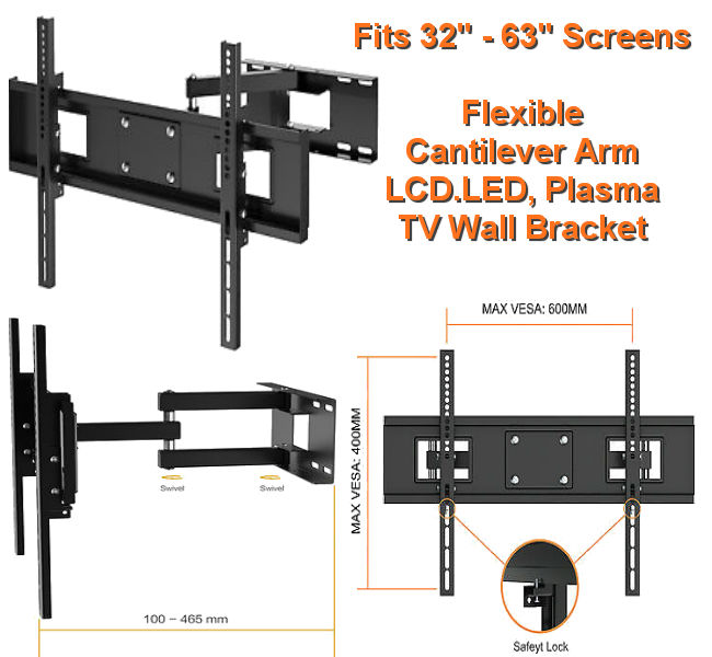 "Flexible 32"" - 63"" LCD, LED Cantilever Arm Wall Bracket"