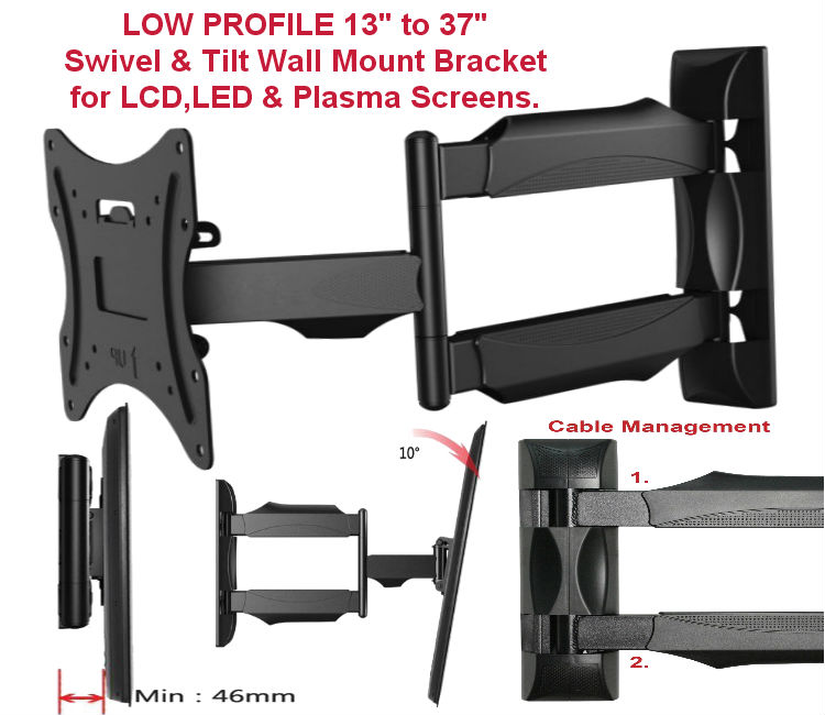 "13""-37"" Low Profile Swivel & Tilt TV Wall/Corner Bracket"
