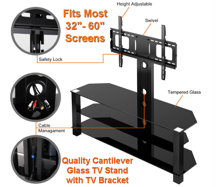 "32"" - 55"" Cantilever TV Stand - Black Glass"